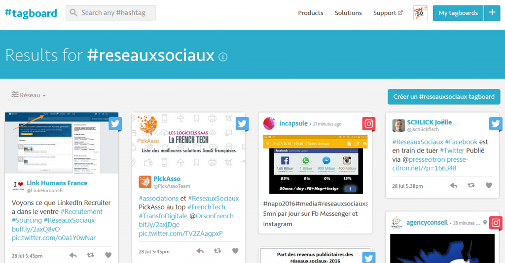 TagBoard Veille Hashtags Social Media Agence OnlySo