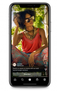 Simulation des publicités dans la fonctionnalité Reels sur Instagram sur un iPhone