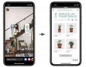 Somulation sur iPhone de l'utilisation des stickers publicitaires qui est la future nouvelle fonctionnalité de Facebook
